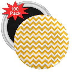 Sunny Yellow & White Zigzag Pattern 3  Magnet (100 Pack)