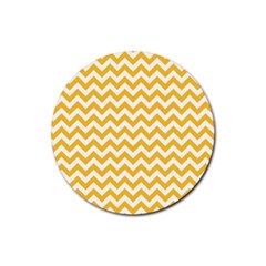 Sunny Yellow & White Zigzag Pattern Rubber Coaster (round)