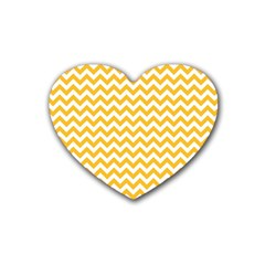 Sunny Yellow & White Zigzag Pattern Heart Coaster (4 Pack)