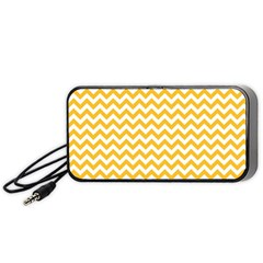 Sunny Yellow & White Zigzag Pattern Portable Speaker (black)