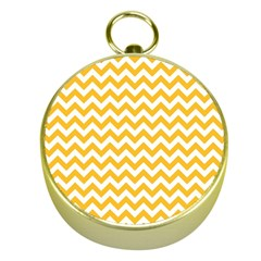 Sunny Yellow & White Zigzag Pattern Gold Compass