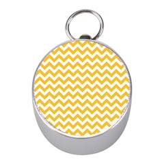 Sunny Yellow & White Zigzag Pattern Silver Compass (mini)