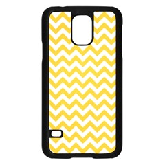 Sunny Yellow & White Zigzag Pattern Samsung Galaxy S5 Case (black)