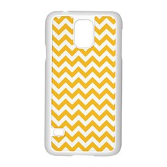 Sunny Yellow & White Zigzag Pattern Samsung Galaxy S5 Case (white)