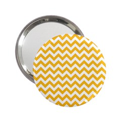 Sunny Yellow & White Zigzag Pattern 2 25  Handbag Mirror