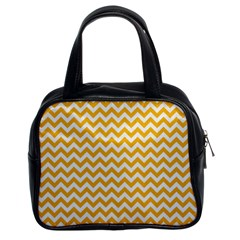 Sunny Yellow & White Zigzag Pattern Classic Handbag (two Sides)