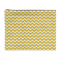 Sunny Yellow & White Zigzag Pattern Cosmetic Bag (xl)