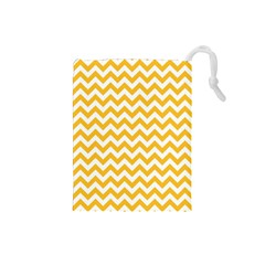 Sunny Yellow & White Zigzag Pattern Drawstring Pouch (small)