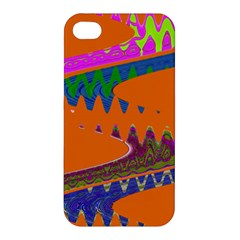 Colorful Wave Orange Abstract Apple Iphone 4/4s Premium Hardshell Case by BrightVibesDesign