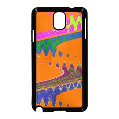 Colorful Wave Orange Abstract Samsung Galaxy Note 3 Neo Hardshell Case (black) by BrightVibesDesign