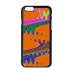Colorful Wave Orange Abstract Apple Iphone 6/6s Black Enamel Case by BrightVibesDesign