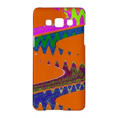 Colorful Wave Orange Abstract Samsung Galaxy A5 Hardshell Case  by BrightVibesDesign