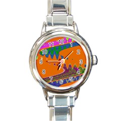 Colorful Wave Orange Abstract Round Italian Charm Watch by BrightVibesDesign