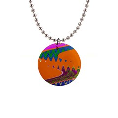 Colorful Wave Orange Abstract Button Necklaces by BrightVibesDesign