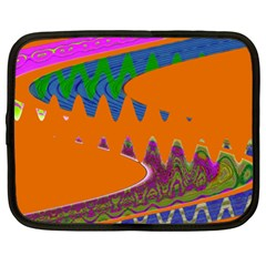 Colorful Wave Orange Abstract Netbook Case (xxl)  by BrightVibesDesign