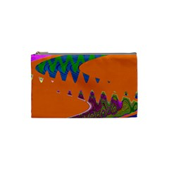 Colorful Wave Orange Abstract Cosmetic Bag (small)  by BrightVibesDesign