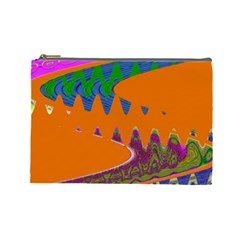 Colorful Wave Orange Abstract Cosmetic Bag (large)  by BrightVibesDesign