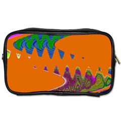 Colorful Wave Orange Abstract Toiletries Bags 2 Side by BrightVibesDesign