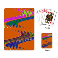 Colorful Wave Orange Abstract Playing Card by BrightVibesDesign