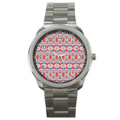 Pretty Pink Shapes Pattern Sport Metal Watch by BrightVibesDesign