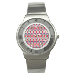 Pretty Pink Shapes Pattern Stainless Steel Watch by BrightVibesDesign