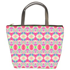 Pretty Pink Shapes Pattern Bucket Bags