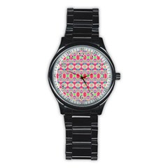 Pretty Pink Shapes Pattern Stainless Steel Round Watch by BrightVibesDesign