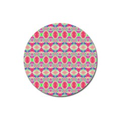 Pretty Pink Shapes Pattern Magnet 3  (round) by BrightVibesDesign