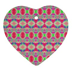 Pretty Pink Shapes Pattern Heart Ornament (2 Sides) by BrightVibesDesign