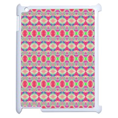 Pretty Pink Shapes Pattern Apple Ipad 2 Case (white) by BrightVibesDesign