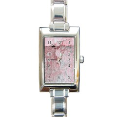 Coral Pink Abstract Background Texture Rectangle Italian Charm Watch by CrypticFragmentsDesign