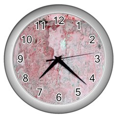 Coral Pink Abstract Background Texture Wall Clock (silver) by CrypticFragmentsDesign