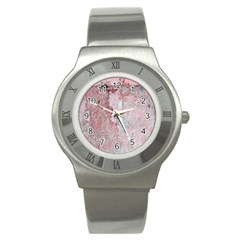 Coral Pink Abstract Background Texture Stainless Steel Watch by CrypticFragmentsDesign