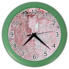 Coral Pink Abstract Background Texture Color Wall Clock by CrypticFragmentsDesign