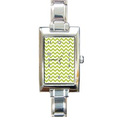 Spring Green & White Zigzag Pattern One Piece Boyleg Swimsuit Rectangle Italian Charm Watch