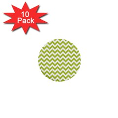 Spring Green & White Zigzag Pattern One Piece Boyleg Swimsuit 1  Mini Button (10 Pack)  by Zandiepants