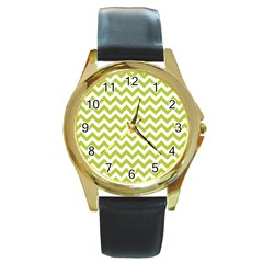 Spring Green & White Zigzag Pattern One Piece Boyleg Swimsuit Round Gold Metal Watch