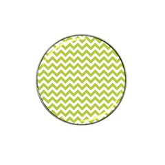 Spring Green & White Zigzag Pattern One Piece Boyleg Swimsuit Hat Clip Ball Marker (4 Pack)