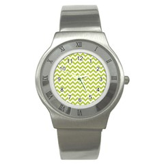 Spring Green & White Zigzag Pattern One Piece Boyleg Swimsuit Stainless Steel Watch by Zandiepants