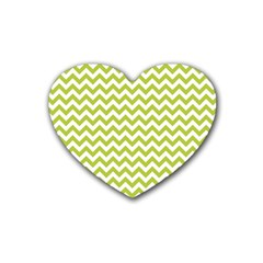 Spring Green & White Zigzag Pattern One Piece Boyleg Swimsuit Rubber Coaster (heart)