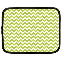 Spring Green & White Zigzag Pattern One Piece Boyleg Swimsuit Netbook Case (large)