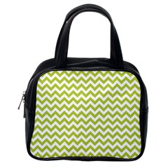 Spring Green & White Zigzag Pattern One Piece Boyleg Swimsuit Classic Handbag (one Side)