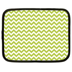 Spring Green & White Zigzag Pattern One Piece Boyleg Swimsuit Netbook Case (xl)