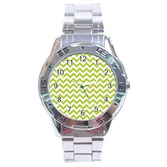 Spring Green & White Zigzag Pattern One Piece Boyleg Swimsuit Stainless Steel Analogue Watch