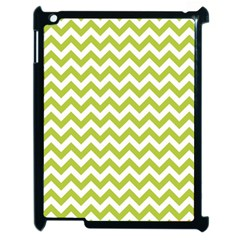 Spring Green & White Zigzag Pattern One Piece Boyleg Swimsuit Apple Ipad 2 Case (black)
