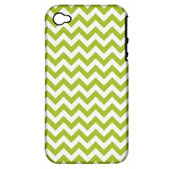 Spring Green & White Zigzag Pattern One Piece Boyleg Swimsuit Apple Iphone 4/4s Hardshell Case (pc+silicone)