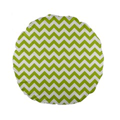 Spring Green & White Zigzag Pattern Standard 15  Premium Round Cushion  by Zandiepants