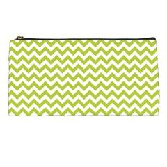 Spring Green & White Zigzag Pattern Pencil Case