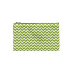 Spring Green & White Zigzag Pattern Cosmetic Bag (small)