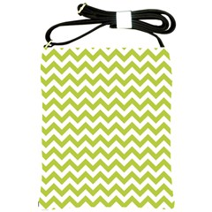 Spring Green & White Zigzag Pattern Shoulder Sling Bag